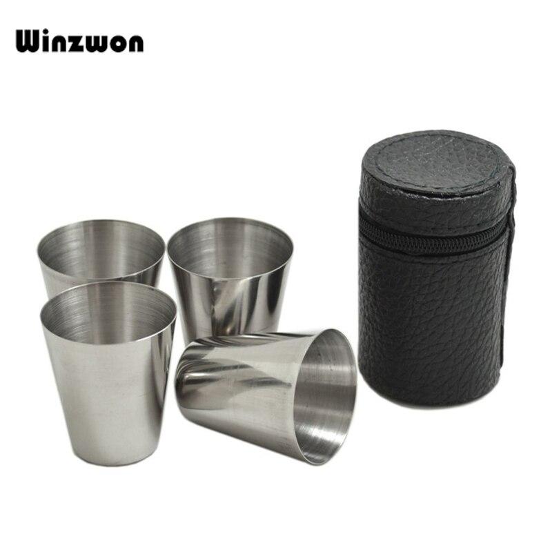 4 개/대 30 ml 스테인레스 스틸 세련 된 와인 마시는 샷 안경 컵 가죽 커버 케이스 가방 barware 홈 부엌 바