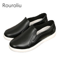 Rouroliu Women Slip-on Flat Platform Rain Shoes Waterproof Female Loafers Woman Wellies Spring Autumn Ankle Moccasins RB125