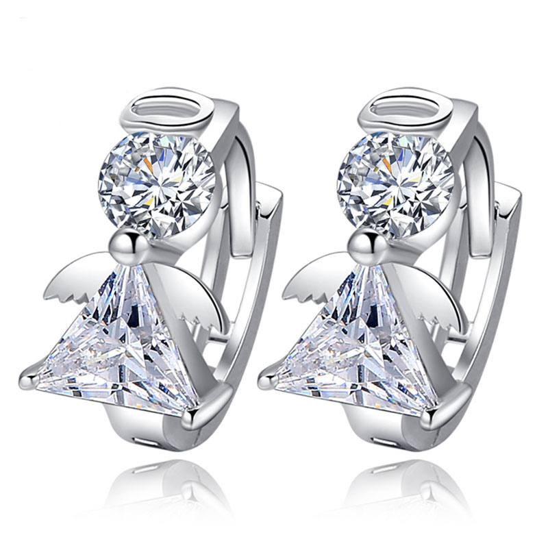 New Luxury Crystal 925 sterling silver Stud Earrings Angel Design Earring For Women korea Jewelry 2020(China)