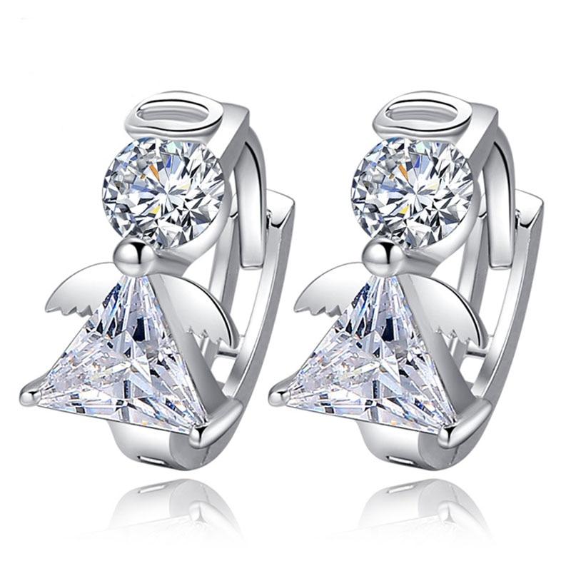 Novi dolasci modni anđeo dizajn 925 sterling srebro stud naušnice luksuzni dvostruki kristal naušnica za žene srebrni nakit