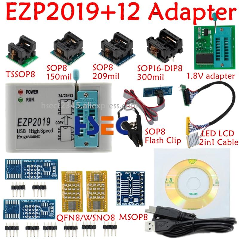 Test-Clip Socket Programmer SOP8 Flash-Bois Usb Spi 12-Adapter 24-25-Eeprom Full-Set