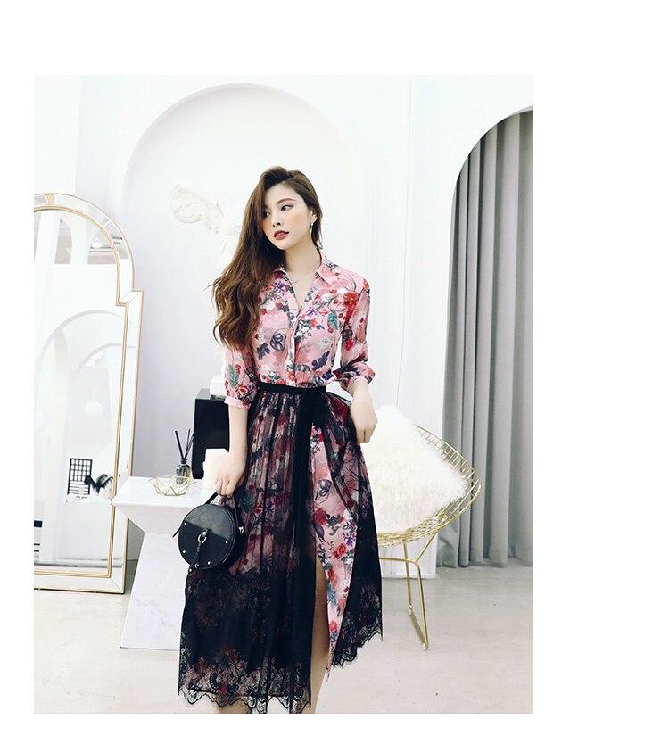 2019 nouvelles femmes de printemps robe chemise imprimée jupe avec jupe en filet deux-pièce jupe de tailleur fée