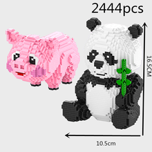my DIY Diamond Mini Building  Cartoon Bear Cat Panda Animal Pet 3D Model 2444pcs Nano Blocks Bricks Assembly Toy gift