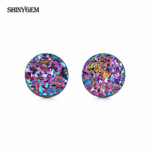 ShinyGem 4-10mm Round Druzy Crystal Earrings Sparkling Opal Natural Stone 925 Sterling Silver Stud For Women