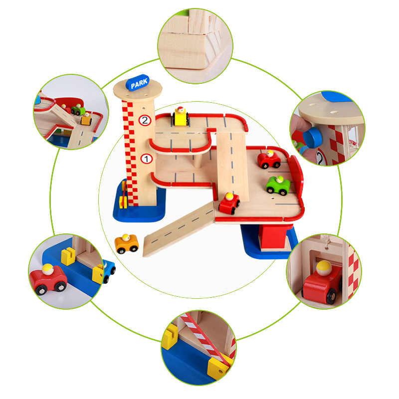 Juego de pista de Tren Eléctrico magnético ranura educativa Bri-o tren de madera Estación de pista de madera para niños para los niños