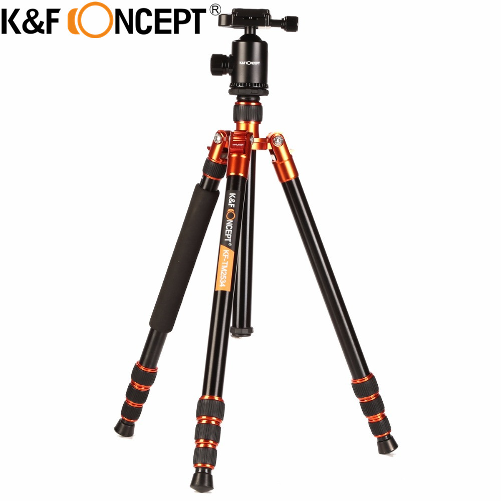 K&F CONCEPT Professional Portable Stable Magnesium Aluminum Alloy 4-Sections Camera Tripod Monopod+Ball Head for DSLR SLR Camera benro new ga169tb1 aluminum tripod kit professional digital video camera tripod ball head portable camera support stable tripdod