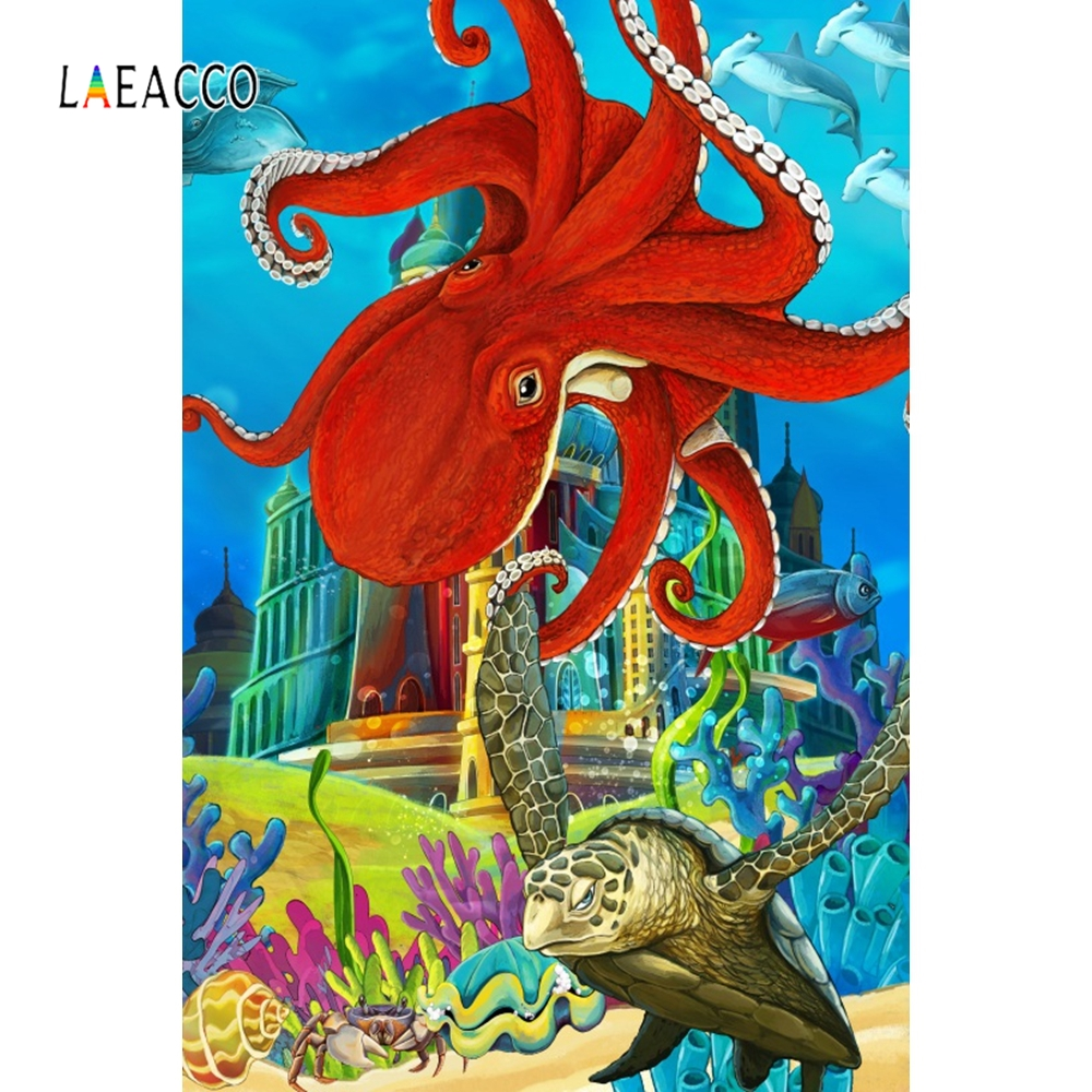 Laeacco Cartoon Seabed World Backdrop Child Portrait Photography Background Customized Photographic Backdrops For Photo Studio in Background from Consumer Electronics