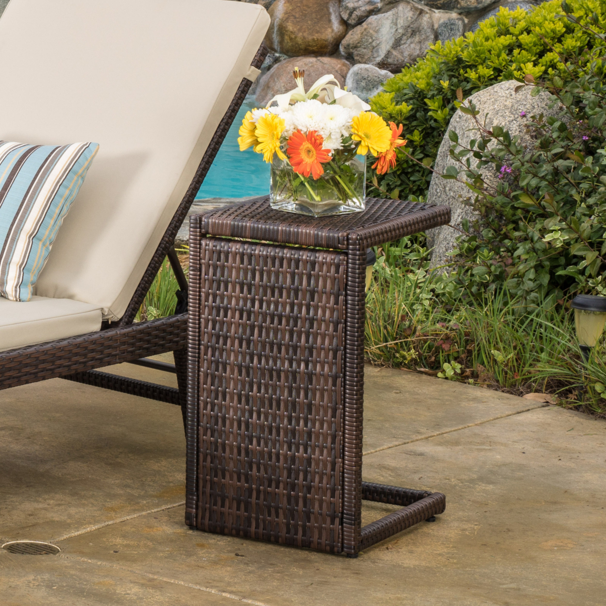Denise Austin Forrest Outdoor Wicker Side Table - All weather wicker side table