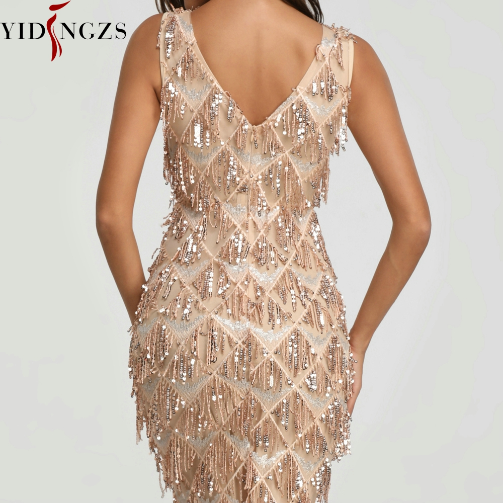 Image 4 - YIDINGZS 2019 Sexy V neck Tassel Sequin Sleeveless Evening Dress Women Elegant Long Evening Party Dress YD633-in Evening Dresses from Weddings & Events