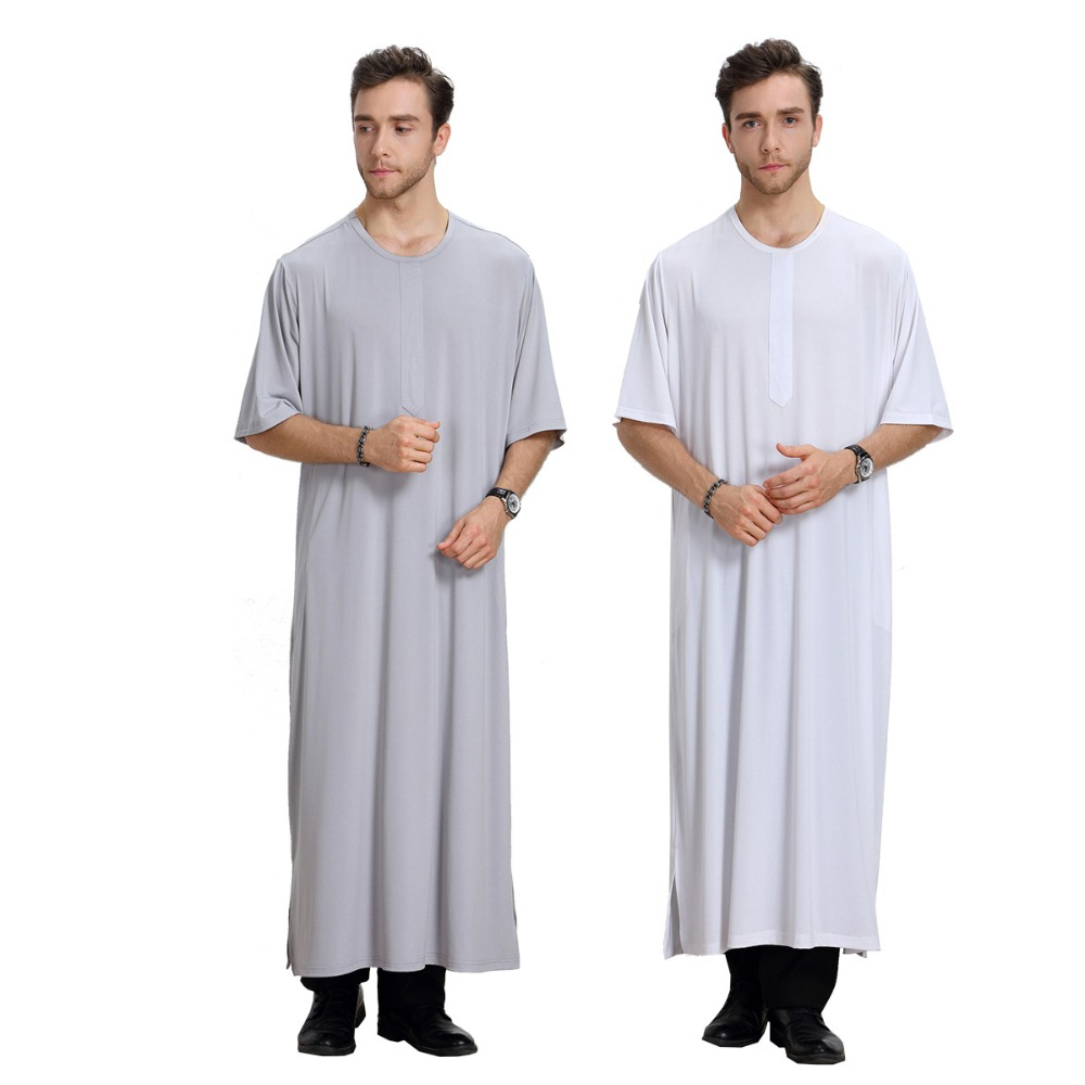Summer New Fashionable Arabic Thobe Mens Islamic Muslim O-Neck Short Sleeve White Clothing kaftans For Men Dubai Robe Clothes