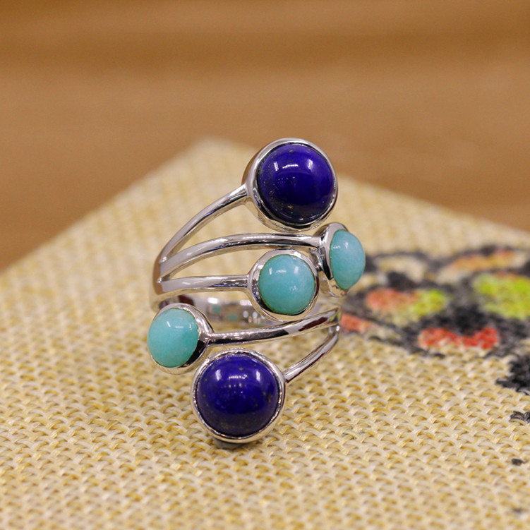 The character of silver new women's aesthetic atmosphere with natural Lapis Amazonite combination S925 ring the character of the new fashion women s silver moon moon goddess calla true to life s925 ring