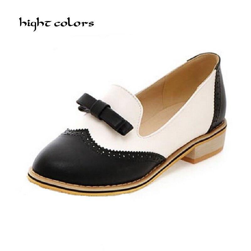 744432938 السيدات أسود/أبيض أيرلندي أكسفورد الزواحف أحذية زائد الحجم اللون كتلة  الديكور الفم الضحلة القوس الأحذية المسطحة للنساء أوكسفورد