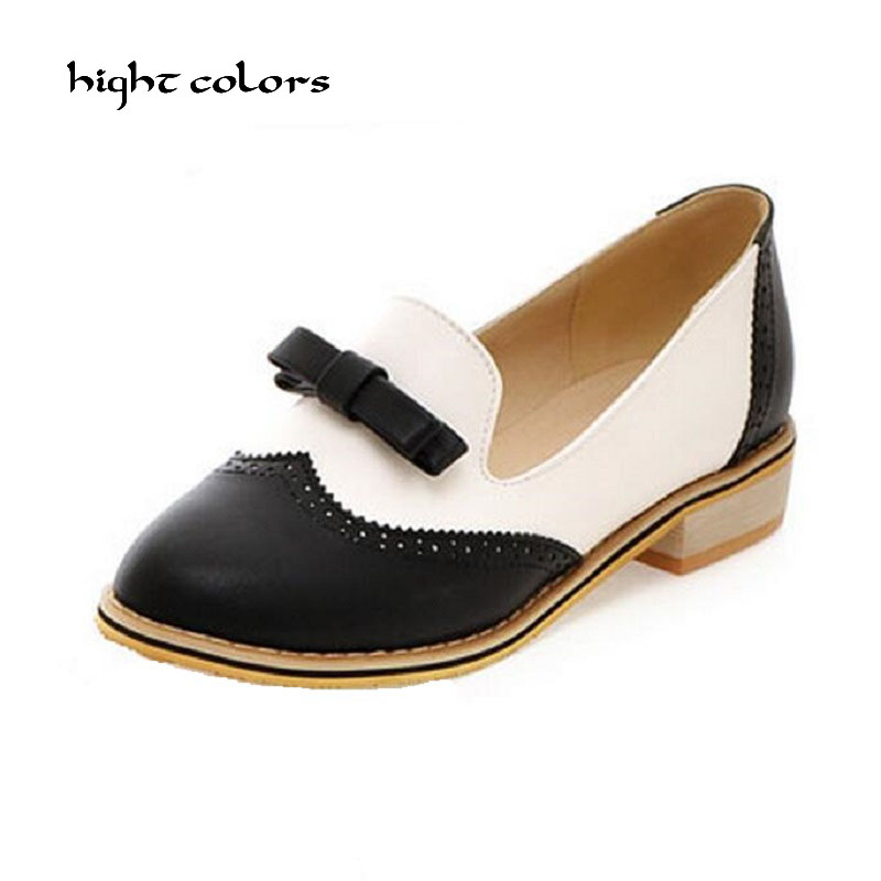 Ladies Black/White Brogue Oxford Creepers Shoes Plus Size Color Block Decoration Shallow Mouth Bow Flat Shoes For Women Oxfords