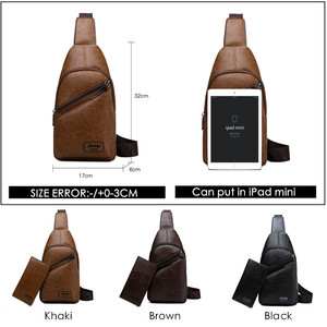 Image 2 - JEEPBULUO Brand Men Sling Bags 2Pcs/Set Leather Chest Bag For College Students Fashion Casual Mens Bags Crossbody Bag Conductor