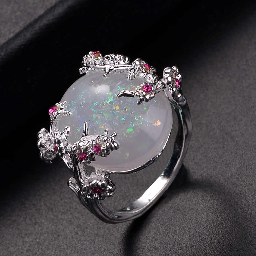 Красивое дерево и кольцо в виде цветка, ювелирное изделие, Черное золото заполнены Романтический большой белый огонь опал кольца для женщин дропшиппинг полосы кольцо