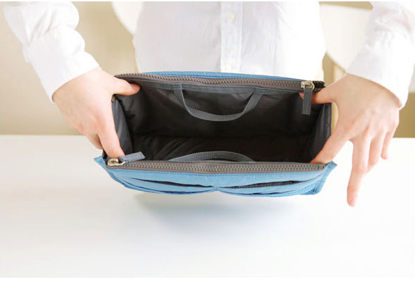 13 color Women  comestic Organizer Bag In Bag Double Zipper Portable Multifunctional Travel Pockets Handbag Makeup Bag