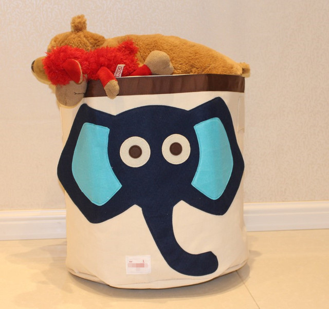 Delicieux Cotton Canvas Storage Bin Felt Elephant Decoration Toy / Books /laundry  Storage Basket Small Desktop