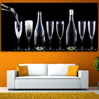 Wall Art Picture Abstract Art Wall Painting For Home Decor Wine Bottles And Cups New Year