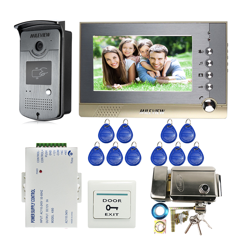 Wired 7 Record Screen Video Intercom Video Door Phone System RFID Access Doorbell Camera 8G SD Electrical lock Free Shipping