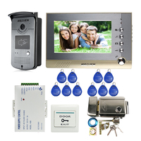 Wired 7 Color Record Screen Video Intercom Door Phone System RFID Access Doorbell Camera 8G SD