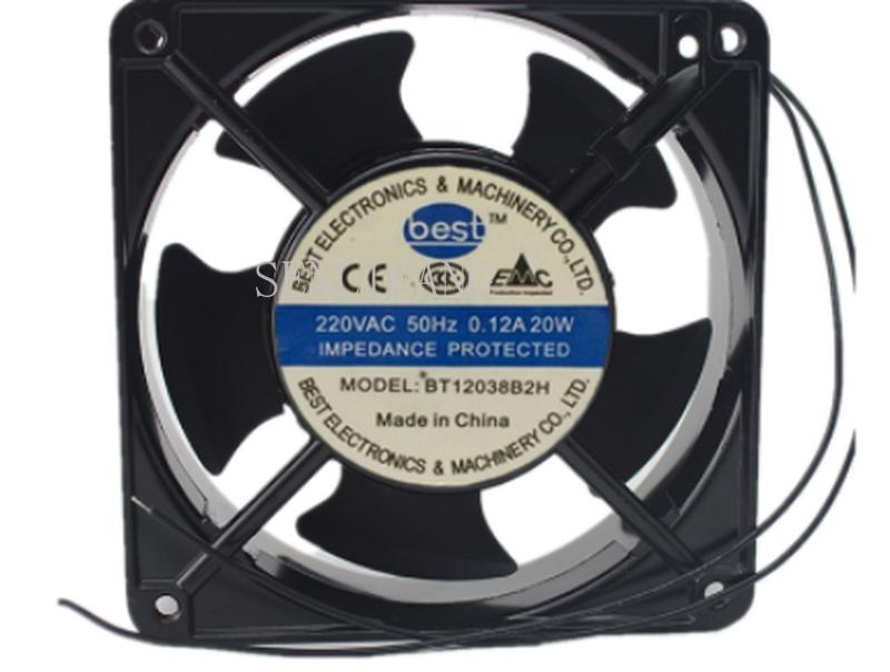 Free Shipping BT12038B2H AC 220V-240V 20W 0.12A/0.11A 50/60HZ 2 Wirs 12038 12cm 120*120*38mm Ball Bearing Axial Cooling Fan