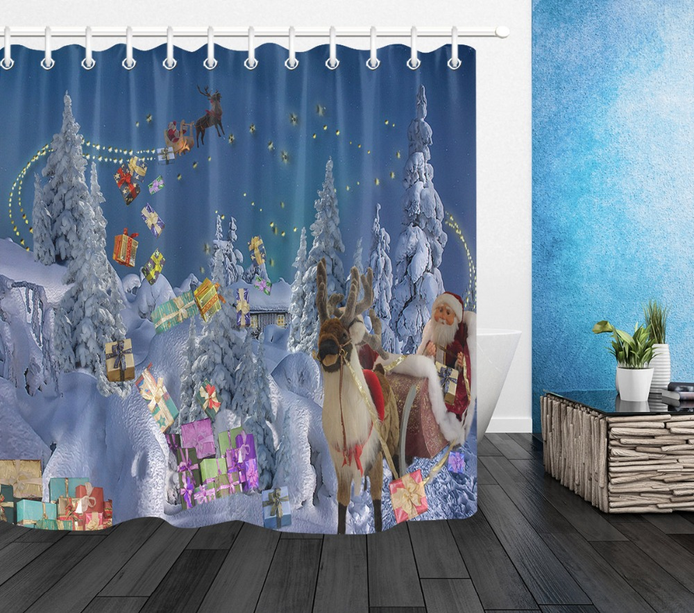 72'' Christmas Bathroom Waterproof Fabric Shower Curtain 12 Hooks Bath Accessory Sets Elks Pull Santa's Sleigh In Cedar Forest