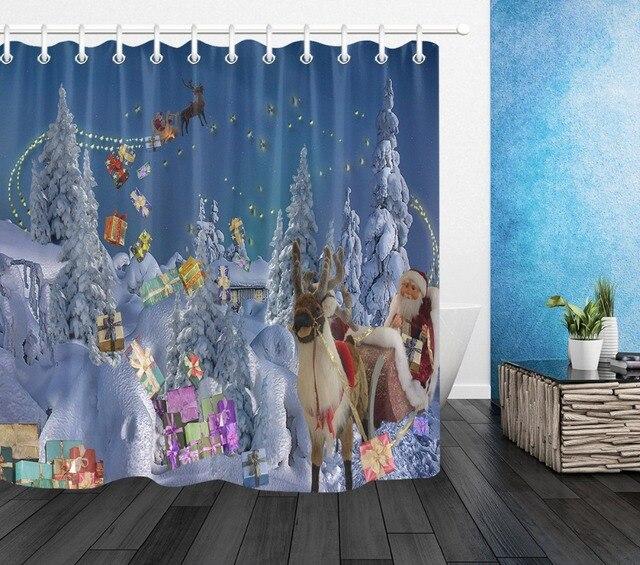 72 Christmas Bathroom Waterproof Fabric Shower Curtain 12 Hooks Bath Accessory Sets Elks Pull Santas Sleigh In Cedar Forest