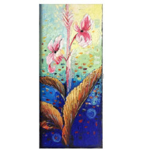 Abstract Oil Painting Canna lily flower Impasto Palette Knife fine thick textured art