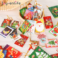 JOY-ENLIFE 10pcs Lovely Cartoon Snowman Santa Merry Christmas Postcard Greeting Card New Year Baby Shower Christmas Decor