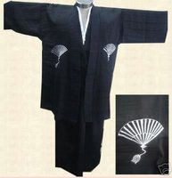 Free Shipping Black Japanese Men's Kimono Warrior Robe one size Wholesale and Retail B0002
