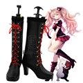 Anime Danganronpa Junko Enoshima Cosplay Halloween Party Shoes Negro Boots Por Encargo