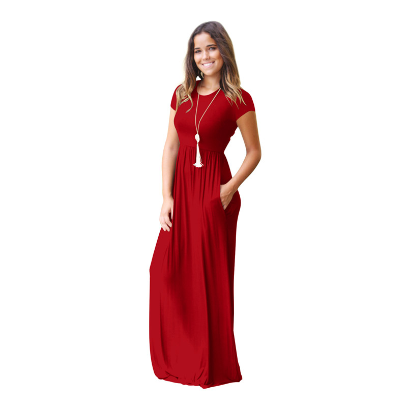 Women's Short Sleeve Loose Plain Maxi Dresses Casual Long Dresses with Pockets 3