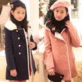 Retail Girl's Double-breasted Thickening Long Coat with Velvet Winter 2015 New Teenage Girls Fleece Hoodie Overcoat Winter Coat