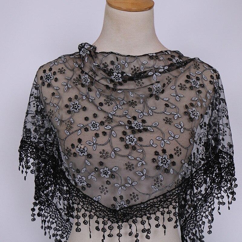 Summer Fashion Women Ladies Polyester Lace Sheer Floral   Scarf   Shawl   Wrap   Tassel   Scarf   Shawl   Scarf   Hot Sale A10 AP17