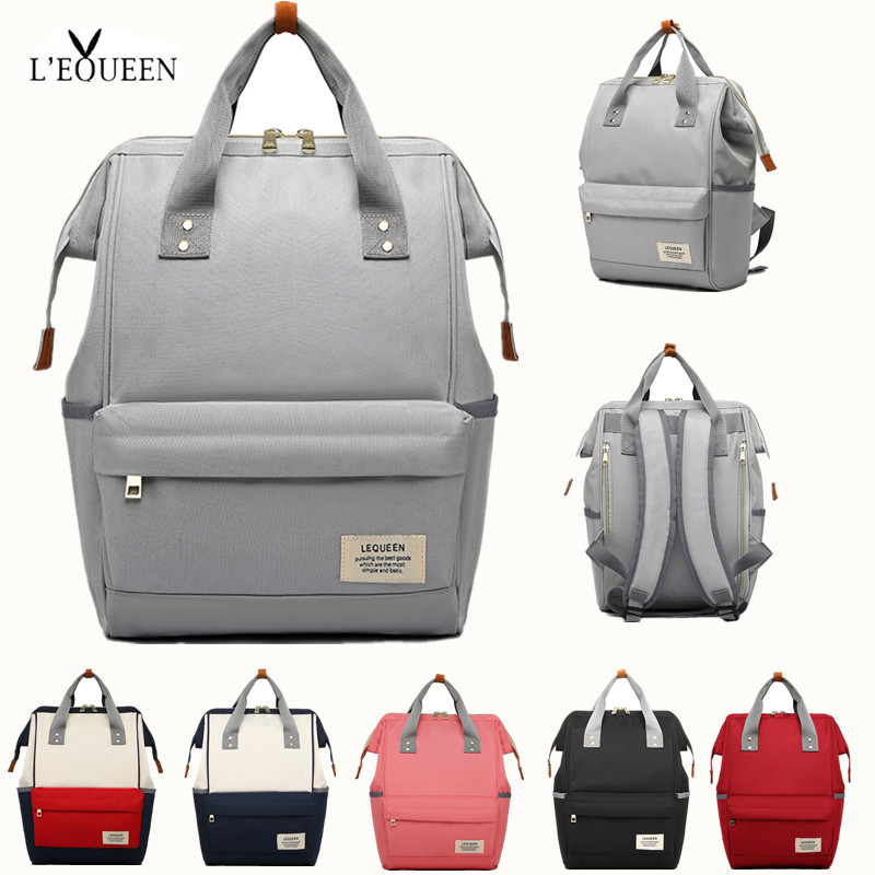 [NEW]LEQUEEN Diaper Bag Solid Color Waterproof Nappy Bag Baby Care Travel Backpack Maternity Bag