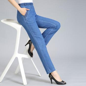 Spring autumn women jeans women Elastic waist stretch loose straight denim pants female casual jeans plus size 5xl r1350 Straight Jeans