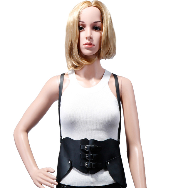 Harness, waist belts Literary wind trend personality GOTH sexy leather strap pin buckle belt leather Restraint belt strap