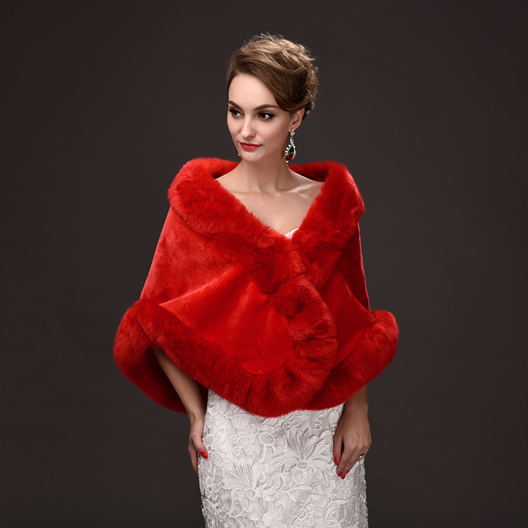 2016 new winter wedding bride hair shawl luxury wedding dress wedding dress warm vest increase faux fur shawl
