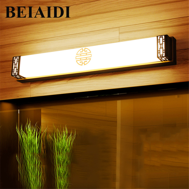 beiaidi 48cm 20w bathroom mirror led light indoor bronze shell led