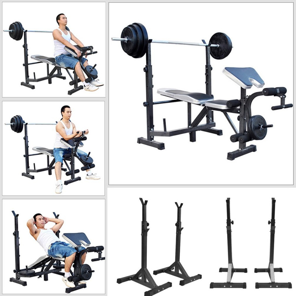 2018 High quality Adjustable Standard Steel Squat Stands Rack Barbell Bench Rack Weight Lifting Fitness Body Exercise Equipments