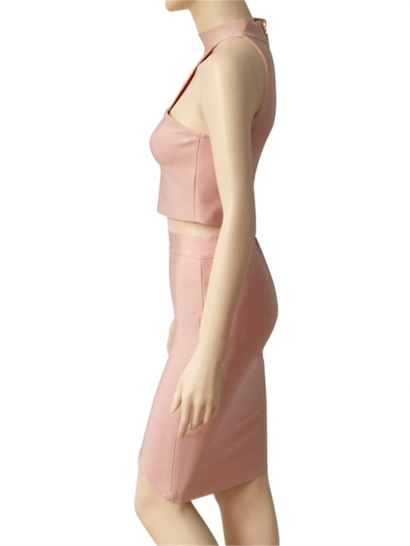 HTB1msjZdYAaBuNjt igq6z5ApXaW - 2018 Sexy Women Clothing Club Party 2 Piece Sets Fashion Bandage Dress Strapless Short Crop Top Patchwork Knee-Length Skirts