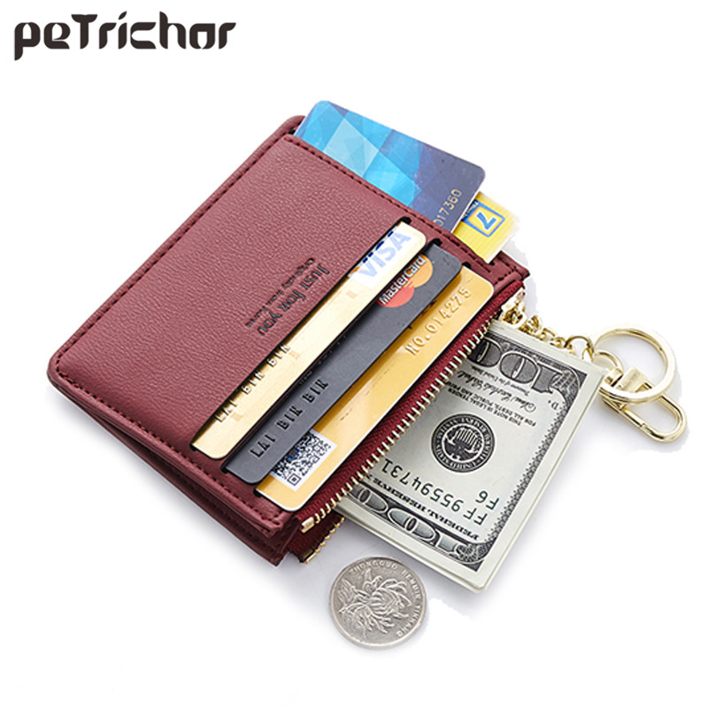 Mini Card Holder Women Soft Leather Key Chain Bag Small Card Wallets Female Mini Credit Card Case Zipper Coin Bags