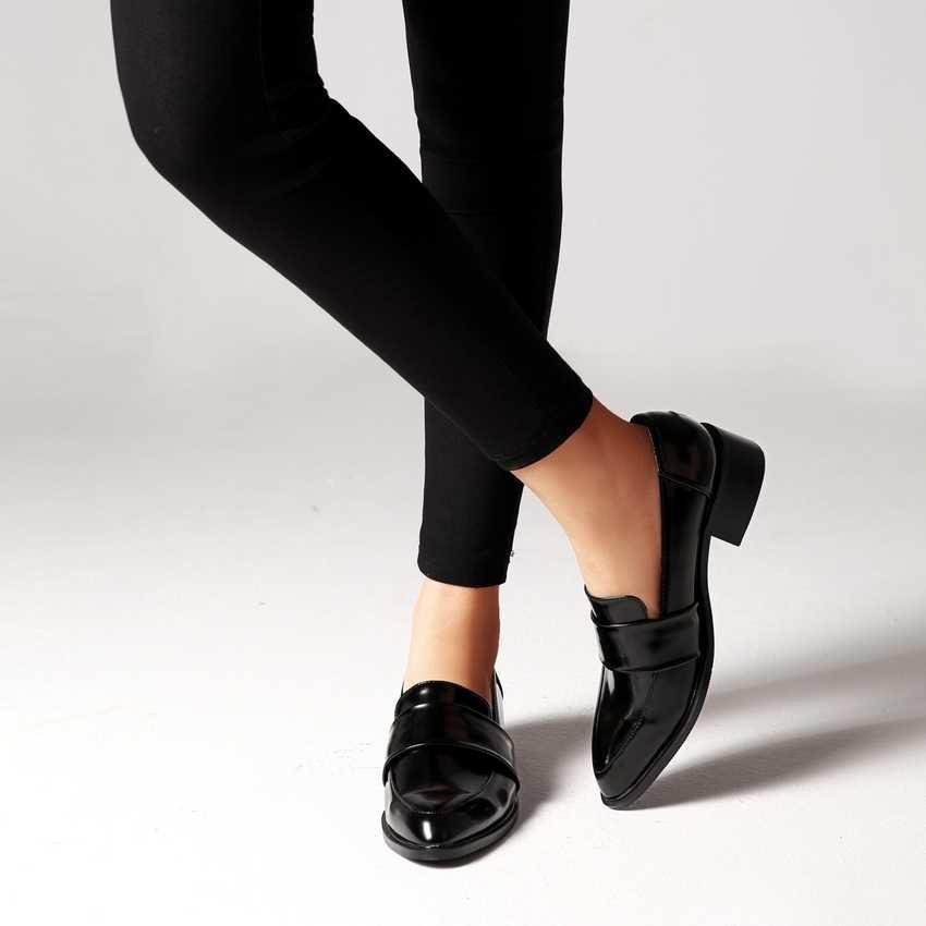 2019 moda mujer primavera otoño zapatos Oxford planos estilo británico Vintage zapatos de cuero suave negro Casual zapatos para mujer