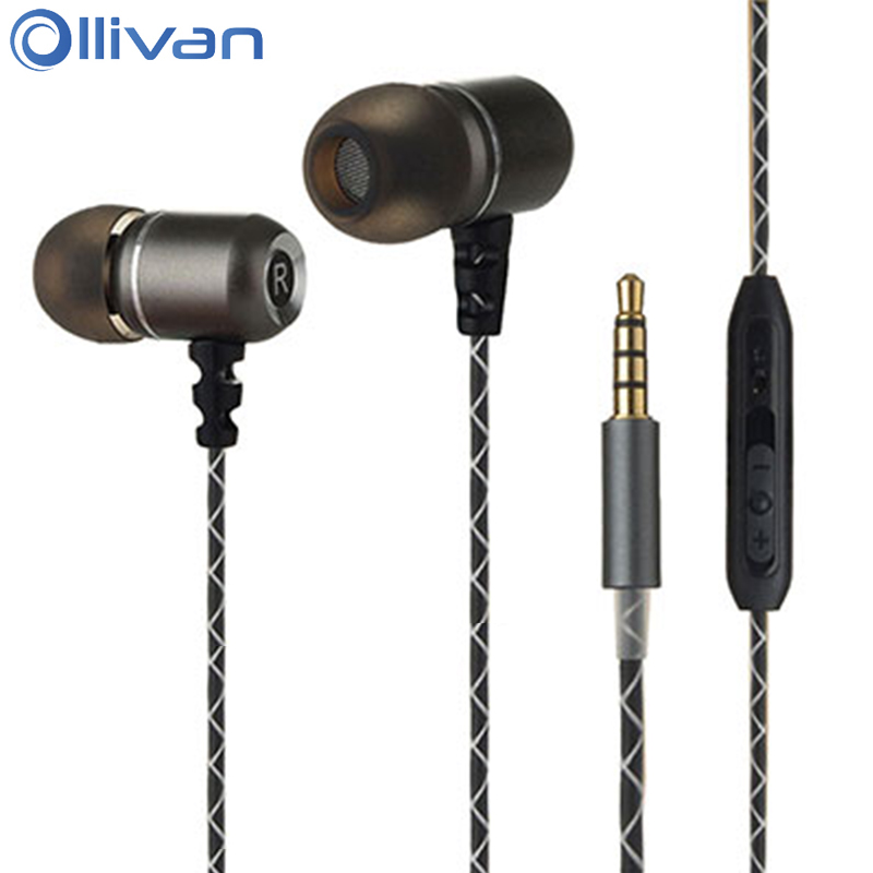 Ollivan In Ear Metal Earphones HIFI Headsets Subwoofer Bass Earphone With Microphone Universal Wire Control Earbuds For iPhone 6