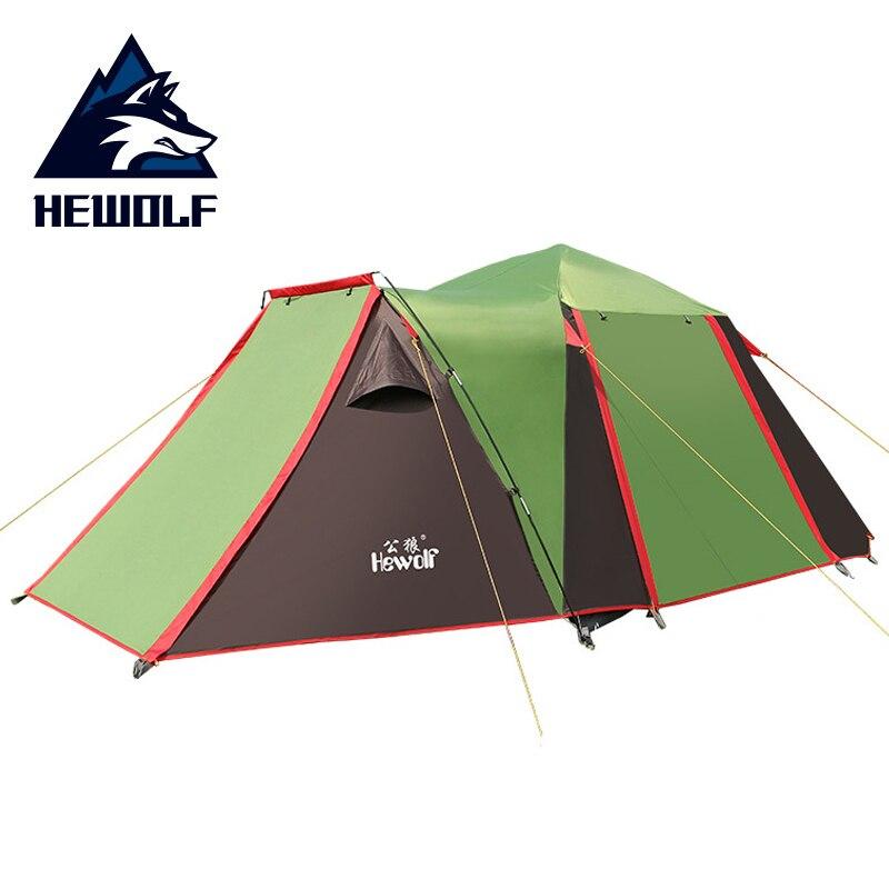 4-5 personne Grand Camping Tente Automatique Touristique Tente Quatre-porte Double Couche Étanche Neige Jupe Tentes Pour loisirs de plein air