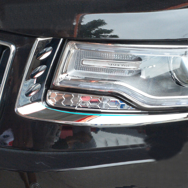 For Jeep Grand Cherokee Patriot 2011 2012 2013 2014 ABS Chrome Car Headlamps Eyebrow Garnish Trim Cover Protector Guard Strip