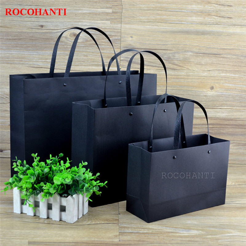 10x Thick 250grams Luxury Matte Black Shopping Paper Bag With Custom Logo Printed For Shopping Clothing
