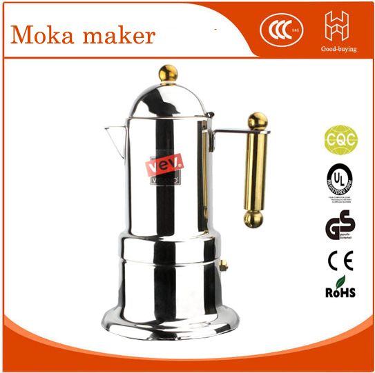 Golden Handle 4 cups Moka coffee maker/Espresso VEV latte coffee pot stainless steel moka coffee machine home appliance 2 4 6 9 cups coffee maker pot for household stainless steel moka coffee latte percolator stove coffee pots