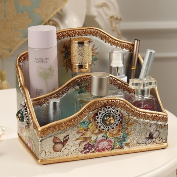 Cover dresser finishing box creative multifunctional tissue box ornaments cosmetic storage box European large desktop