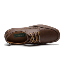 LINGGE Brand Men's Shoes Genuine Leather Casual Shoes Rubber Non-Slip Lace-Up Men Shoe Brown Classical Shoe